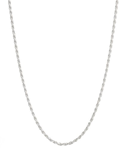 Sterling Silver 2mm diamond cut rope chain necklace- Made In Italy (Silver, 14) ()