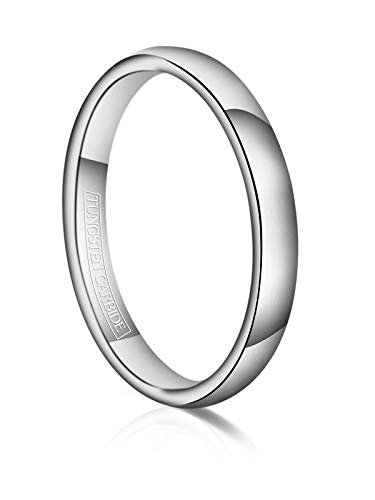 Just Lsy 3mm Tungsten Wedding Band Ring Men Women Plain Dome High Polished Comfort Fit Size 9 -