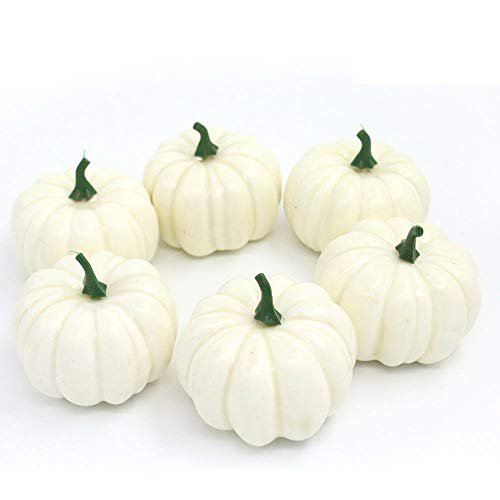 Nice purchase Realistic Fake Artificial Small Pumpkins for Decor Halloween Fall Harvest Thanksgiving Party DIY Craft (White Pumpkins) -