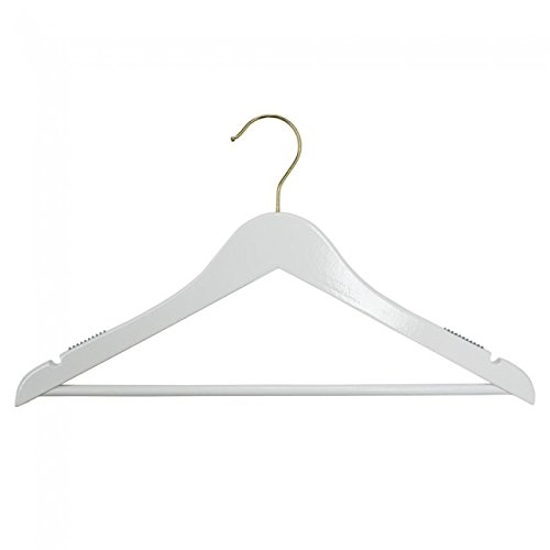 NAHANCO 20517WBGH Wooden Suit Hanger, 17'', High Gloss White with Gold Hardware (Pack of 100) by NAHANCO