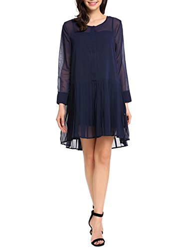 Sleeve Loose Casual Tunic Top Flare Pleated Chiffon Dress(Navy Blue XL) ()