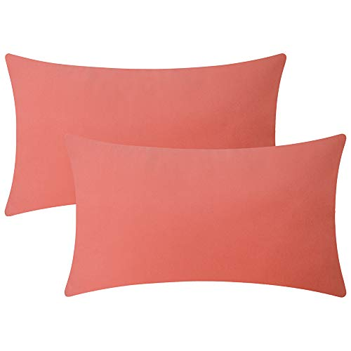 (Artcest Set of 2 Decorative Velvet Lumbar Throw Pillow Cases for Bedroom and Sofa, Soft Solid Cushion Covers for Couch and Car, 12