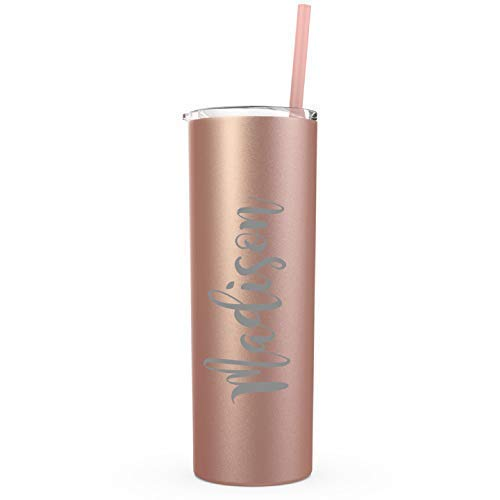 Rose Gold Bridesmaid Gifts Wedding Decor Personalized Name Engraved on Stainless Steel Tumbler Skinny-20 oz