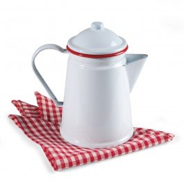 Enamelware Coffee Pot with Percolator, 1.5 qt, Vintage White with Red Rim