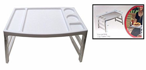 Convertible Foldable Lap Table Tray Multiple Use Food/Book On Bed or Couch (Tray Breakfast Cup Holder With)