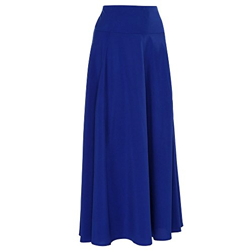 VEZAD Skirt for Women High Waist Pleated A Line Long Skirt Slit Blue ()