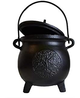 Wood Burning Fireplace Accessories Cauldrons Tree Of Life Cast Iron Three  Legged With Handle And Lid
