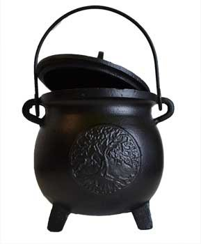 Home Fragrance Potpourris Cauldrons Tree of Life Cast Iron Three Legged with Handle and Lid Large 8'' by AzureGreen
