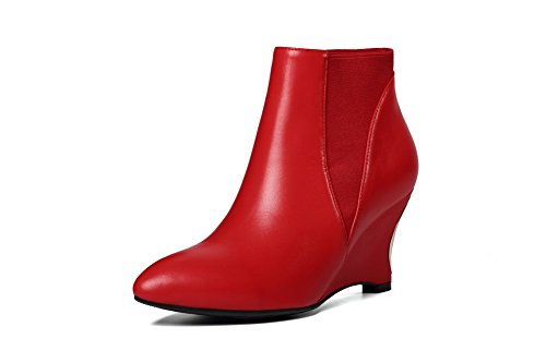 Closed High Rubber AmoonyFashion Heels Womens Winkle With Red Pointed Toe Toe Boots Pinker Soles and qqZXtU