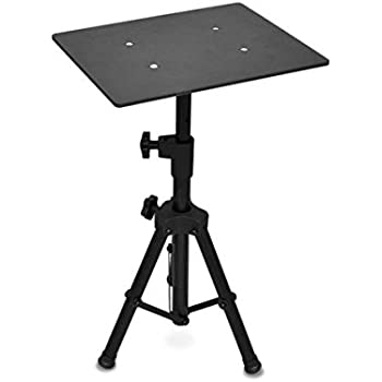 Universal Laptop Projector Tripod Stand - Computer, Book, DJ Equipment Holder Mount Height Adjustable Up to 28 Inches w/ 11'' x 14'' Plate Size - Perfect for Stage or Studio Use - PylePro PLPTS2