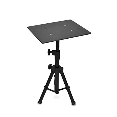 "Universal Laptop Projector Tripod Stand – Computer, Book, DJ Equipment Holder Mount Height Adjustable Up to 35 Inches w/14"" x 11"" Plate Size – Perfect for Stage or Studio Use – PylePro PLPTS2"