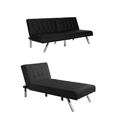 DHP Emily Sectional Sofa Sleeper, Black