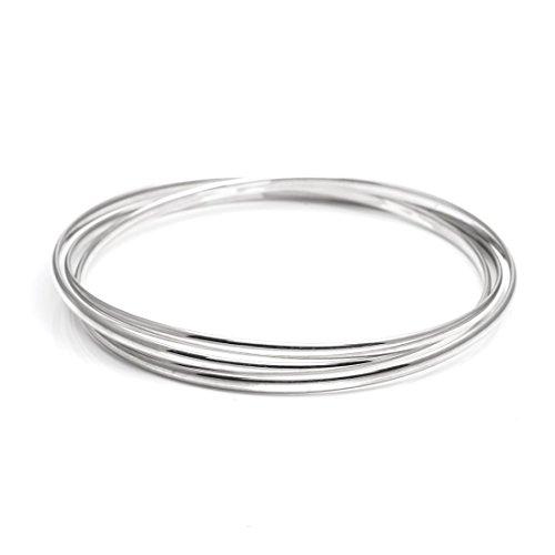 - Silverly Women's .925 Sterling Silver 2.6 mm Triple 3 Interlocking Bangle Bracelet