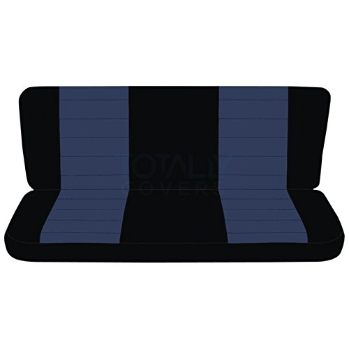 Totally Covers Fits 1992-1997 Ford F-150 F-250 F-350 Two-Tone Truck Seat Covers (Rear Solid Bench) w/wo Bolster Backrest: Black & Navy Blue (21 Colors) 1993 1994 1995 1996 F-Series F150 F250 F350 Back
