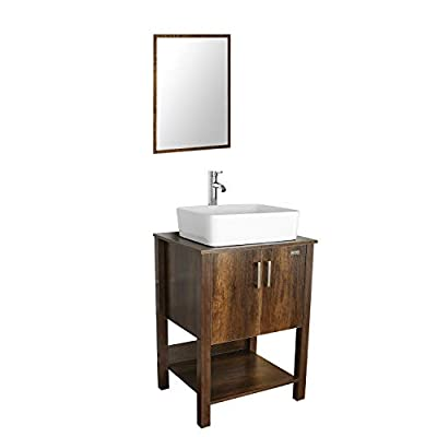 """eclife 24"""" Bathroom Vanity Sink Combo Brown Cabinet Modern Stand Pedestal W/Vessel Sink, Bathroom Solid Brass Faucet and Pop Up Drain Combo, W/Mirror"""