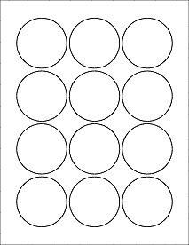 2 inch circle label template - 6 sheets 72 2 1 4 round circle white