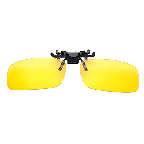 DAWAY UV400 Polarized Clip-on Flip up Metal Clip Sunglasses Lenses for Fishing Cycling Driving Golf Running Outdoor Sports(Yellow - Reviews Sunglasses Over Glasses