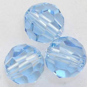 6 pcs - Round 7mm (5000) Swarovski Crystal Beads Light Sapphire