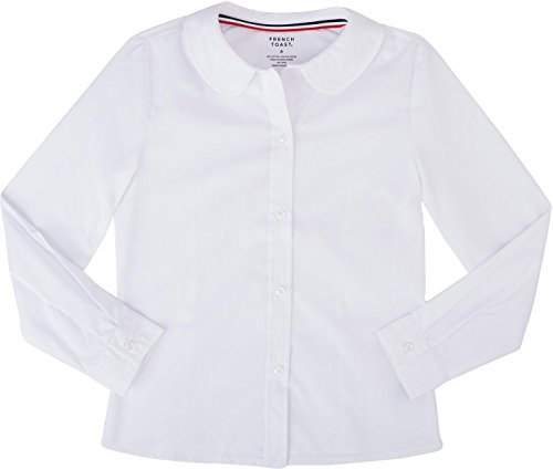 French Toast School Uniform Girls Long Sleeve Modern Peter Pan Blouse, White, 10
