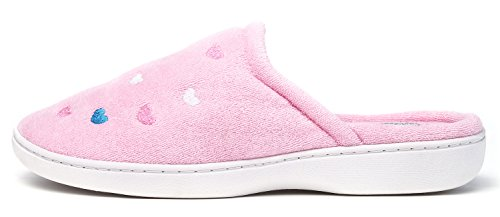 KushyShoo Womens Terry Embroidered Cozy House Clog Slippers Pink PNVgUP