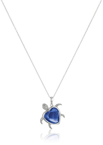 10k White Gold Created Blue Sapphire and Diamond Accent Turtle Pendant Necklace, 18