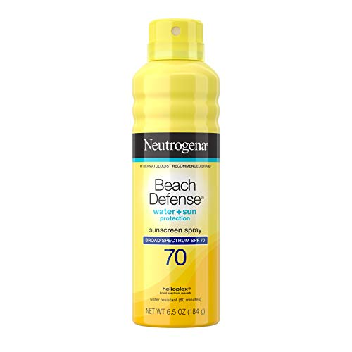 Neutrogena Beach Defense Body Spray Sunscreen with Broad Spectrum SPF 70, Water-Resistant and Oil-Free Sun Protection, 6.5 oz (Packaging May Vary)