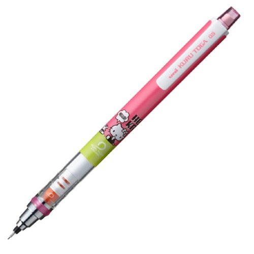 Uni-ball Kuru Toga Hello Kitty Auto Lead Rotation Mechanical Pencil - 0.5 Mm - Pink Retro