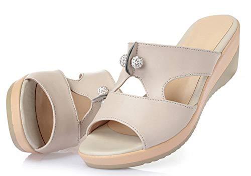 Compensée Beige Découpe Easemax Strass Femme Mules Chaussure Mignon 6wxBTqF