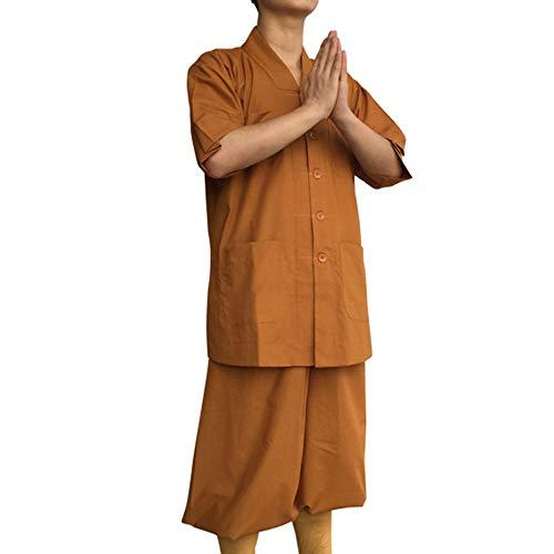ZooBoo Monk Buddhist Costume Robes - Chinese Traditional Taoism Buddha Shaolin Thai Short Sleeve Pants Suits Shirt Uniforms Set - Unisex (66.1inch, Khaki)]()