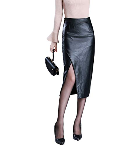 Jade Hare Women's Formal High Waist Mid-Length Slim Front Split Faux Leather Pencil Skirts (Black, Large)