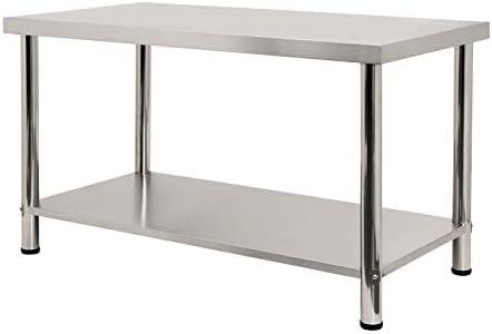 Froadp 150x60x85cm Küche Tisch Edelstahl Arbeitstisch Gastro Zubereitungstisch mit unteren Ablagefläche (ohne Aufkantung)