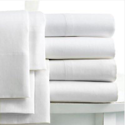 Drap plat 2 personnes en coton égyptien 200 fils pour 135cm x 190cm blanc