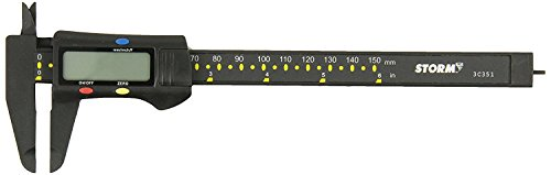 OKSLO Central Tools 3C351 Carbon Fiber Digital Caliper with Fractional Display, HJC Vernier Wars Cal