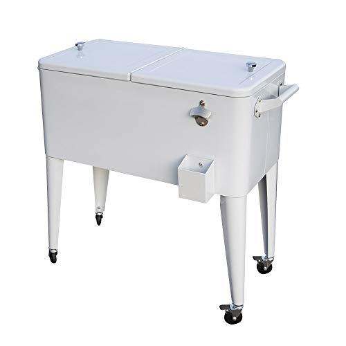 Permasteel PS-203-WHT-AM 80 Quart Portable Rolling Patio Cooler, White (Cart Steel 80qt Patio With Cooler)