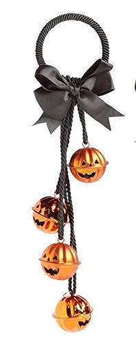 Northeast Harvest Halloween Jack-O-Lantern Bells Door Bow Hanger, 14-inch (Orange)