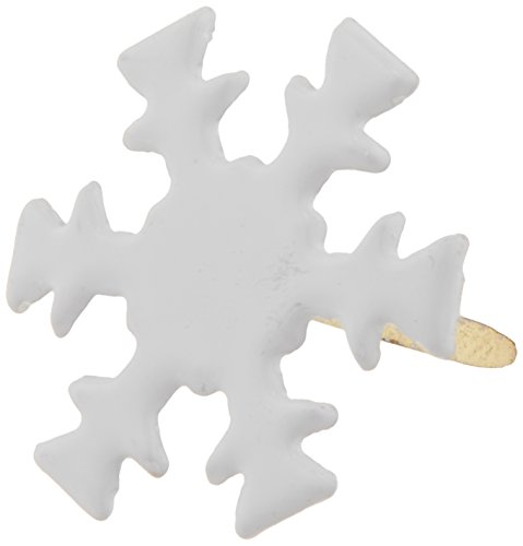 Creative Impressions Painted Metal Paper Fasteners, 50/Pkg, White - Snowflakes