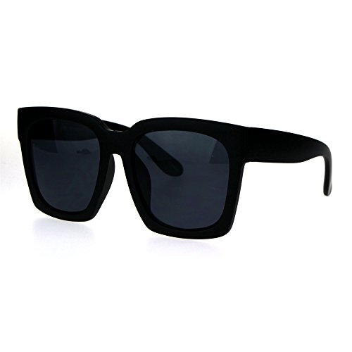 Womens Boyfriend Style Oversize Horned Rim Thick Plastic Sunglasses Matte Solid Black