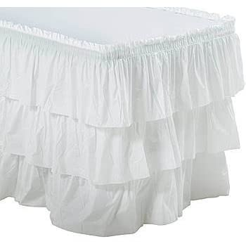 High Quality White 3 Tier Ruffled Table Skirt