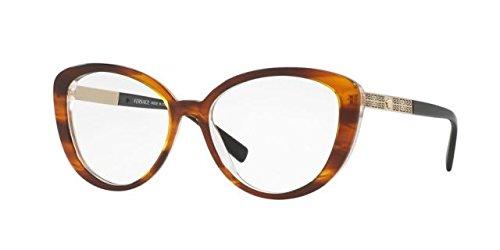Versace VE3229 Eyeglass Frames 5191-52 - 52mm Lens Diameter Striped Havana - Eye Eyeglasses Cat Versace