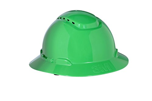 720 Comfort Cooler - 3M Full Brim Hard Hat H-804V, 4-Point Ratchet Suspension, Vented, Green