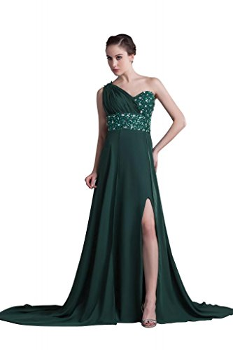 Chiffon Gruen BRIDE Langes Front Abendkleid Kleid Split GEORGE Schulter Elegante Olive xCxfp