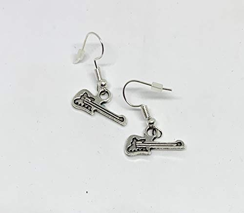 (Silver Tone Tiny Guitar Charm Dangle Earrings - Little Guitar - Musician Gift - Rock Earrings - Rocker Costume - Silver Guitar - Country)