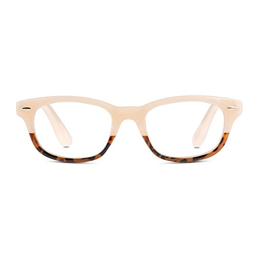 EyeSquared Reading Glasses - Premium Plastic Fashion Frames with Spring Hinge, for Men & Women of All Ages, Nude + - With Glasses Teens Nude
