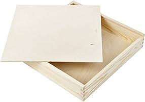Madera Cajas sammelbox 33 x 33 cm caja Tapa deslizante Madera Caja de madera: Amazon.es: Hogar