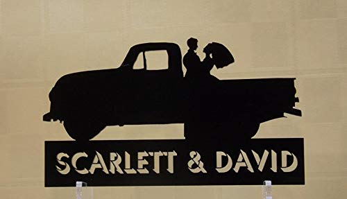 Pick Up Truck Cake Topper & Keepsake 1952 GMC Pickup Truck Outline with Bride and Groom, Can be Your Phrase, Names, Initials or - Gmc 1952 Pickup