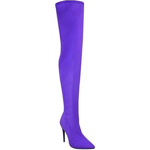 Fashion Sobre Largo Bali Mujer Púrpura Elástico Rodilla Thirsty Lycra Brillante Muslo Lycra Talla Botas Tacón Alto FIrqwFt1