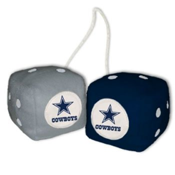 NFL Dallas Cowboys Fuzzy Dice,one blue, one silver w/logo,3""