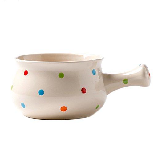 CHOOLD Ceramic Polka Dot One-Handled Soup Bowl Salad Bowl Cereal Bowl Noodle Bowl Dinner Bowl for Kitchen Restaurant,Multi-color 22oz by CHOOLD
