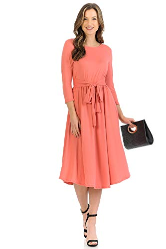 iconic luxe Women's A-Line Midi Dress with Waist Tie Small Coral