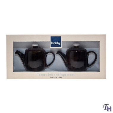 Denby Jet Black Mini Teapot Salt& Pepper Shaker Set